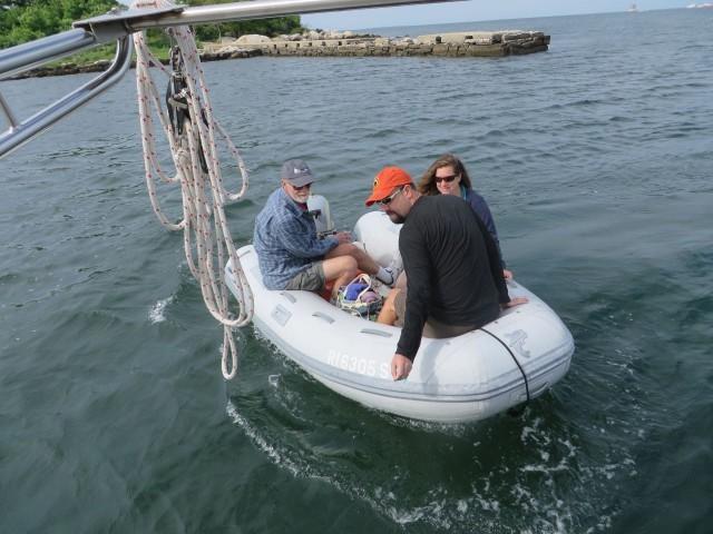 Tim and Amanda arrive via our dinghy.