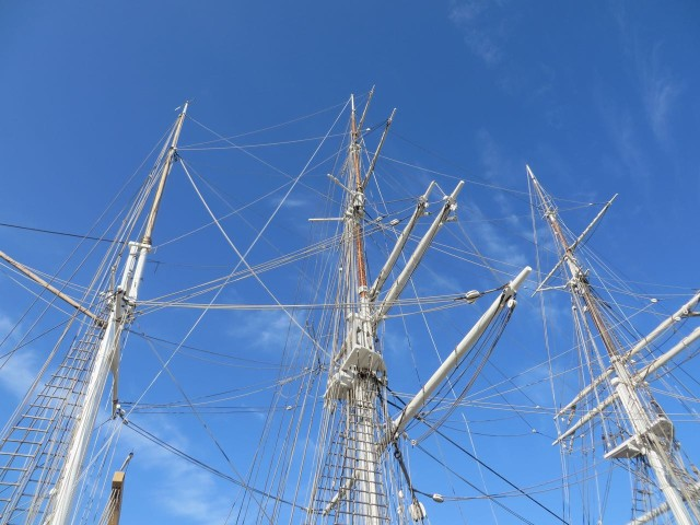 I love looking upward at the masts stretching so high above. Every day, the sails were raised.
