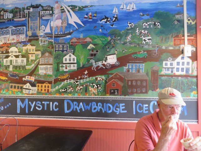 "Al is thoroughly enjoying his ""Mystic Mud"" ice cream. I always get ""Lemon Chocolate Kiss.""  Yum!"