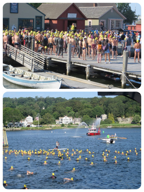 "The swimmers gathered on land. The start was an ""in the water start.""  Dan is the one in the yellow cap. Im pretty sure of it."