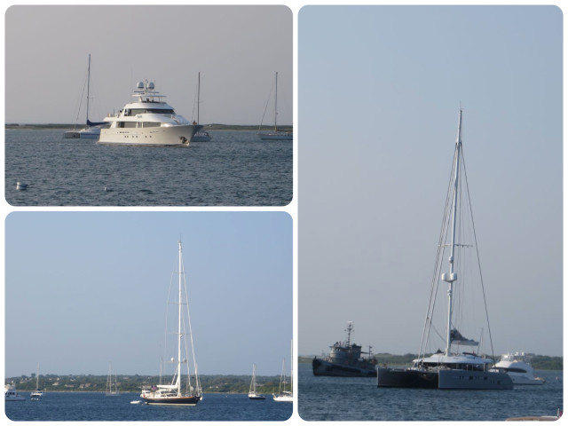 These three gigantic yachts all came into the Great Salt Pond to anchor within an hour of each other. A monohull sailboat, a catamaran, and a power yacht. These pics do not even begin to show how big they were -- at least 100 feet long.