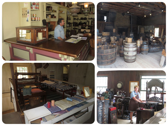 The grocer, cooperage, printers, and looms.