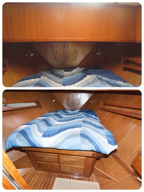 Photos of the master cabin during our first tour of the Mariner Orient. Everything is in good condition, but very basic, without enough storage or style.