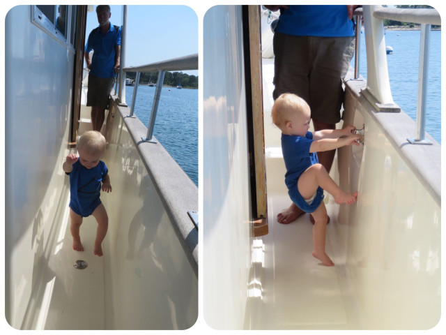 Caleb getting his sea legs. See what I mean about the safety of the side decks?