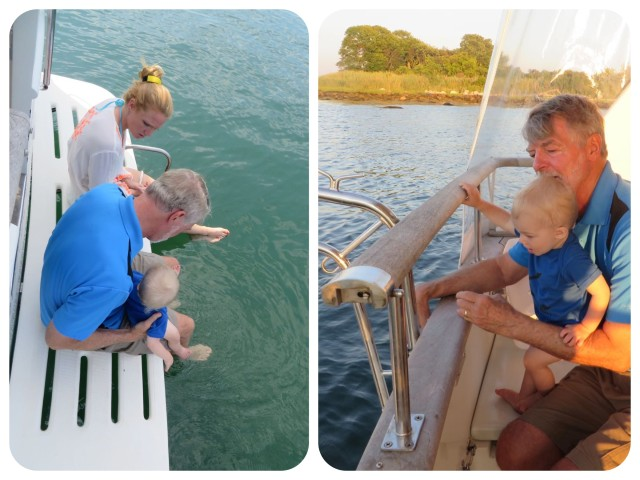 Checking out the swim platform and aft deck with Mommy and Papa.