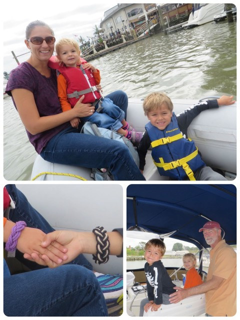 Riding out tot he boat in the dinghy. Sailor bracelets Aaron and Ella on the flybridge with Pap.