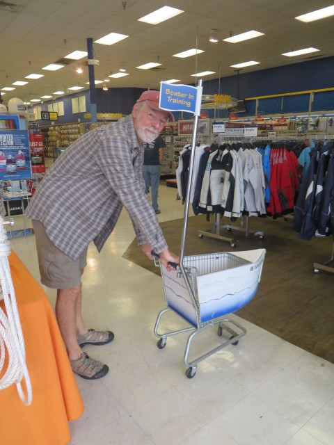 "This West Marine had the cutest little shopping carts - ""Boater in Training."" Think Al might be beyond the training phase."