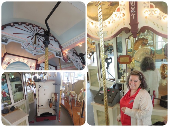 How the carousel works and the charming lady who gave us our ride.