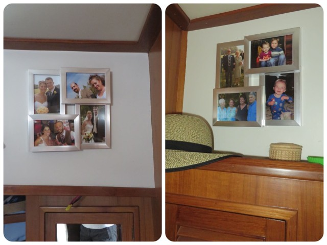 There was a nice little space on either side of our cabin for more photos. One side is grandchildren and parents, plus my sister and sister-in-law. The other side holds pictures of each child's wedding. They were beautiful and loving days when we were all together..
