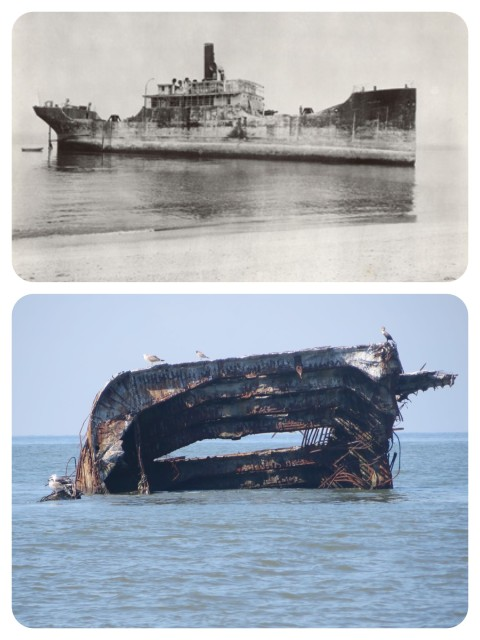 The Atlantus when it went aground in 1920. And now in 2015.