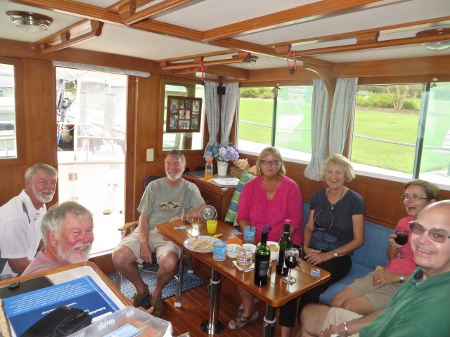We followed the tradition of dockside camaraderie and hosted happy hour on our boat. New friends!
