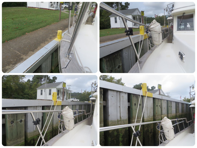 This time the boat starts outweigh and gradually drops lower as the water leaves the lock.