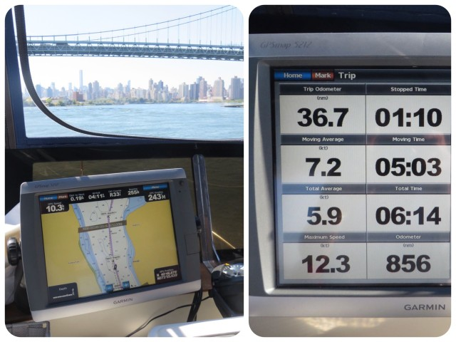 Pics of the chartplotter – The Trip Log on the right is proof that we hit 12.3 knots although I only saw the 10.3 as shown on the left. The 12.3 must have been a fleeting moment.