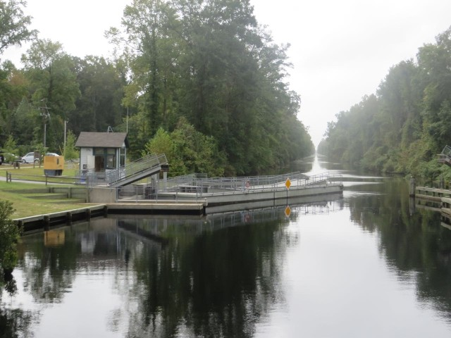 Day 2 on the Dismal Swamp Canal began with the opening of the little pedestrian bridge.