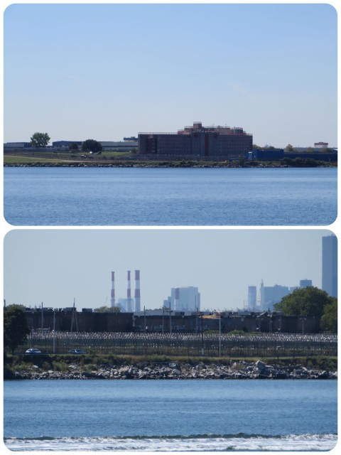 Rikers Island, a small city in itself. You could see the traffic and the white prison busses. The bottom picture shows the barbed wire circles surrounding the prison.