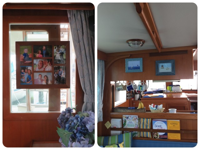 This window int he salon is behind the ladder to the flybridge so I thought it might function well as a place to hang the photos. We also added a new photo - both photos of our boats taken by MJ and Dean now hang side by side. The Morgan when we left in 2013 and the Mariner when we brought her home in 2014.