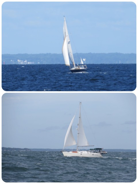 Spirit and Cutting Class sailing along with the northeast winds. This was one of those days when we really missed the Morgan. She would have performed nicely and loved these conditions.