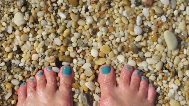 "My ""teal Toes"" and the pebbles on Sunset Beach at Cape May."