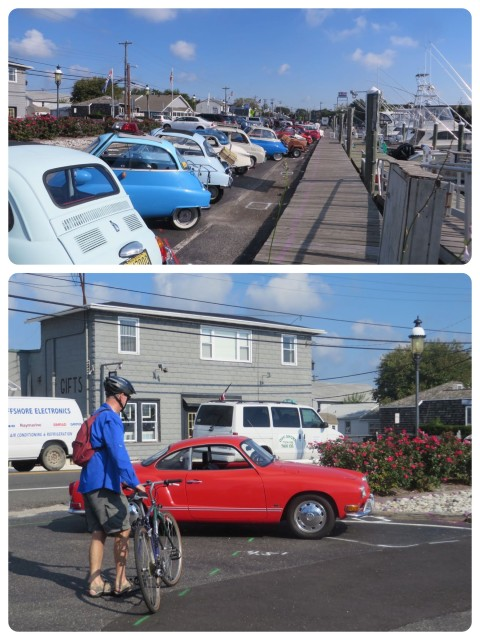 After leaving there dinghy at the dock near a little breakfast spot, we saw all these tiny cars. They must be having their monthly get-together. Cute ones! And look at that red VW karmann ghia!! Looks just like the one we had.