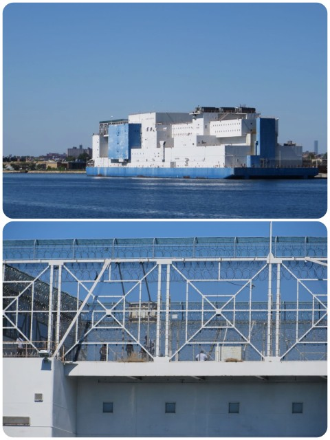 A giant ship made form white and blue Legos? Nope. It's a prison ship. That's a basketball game in the bottom picture. We could just about see it up on the top of the ship as we based by.