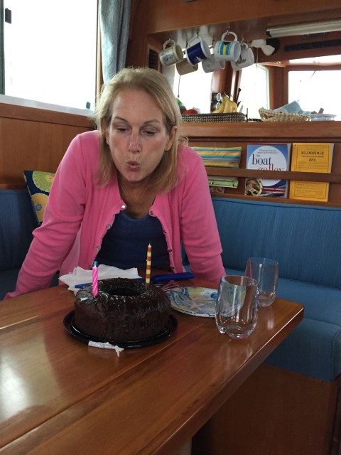 Dean and Mary Jo brought a chocolate cake and Prosecco out to the boat to celebrate my birthday and wish us bon voyage.