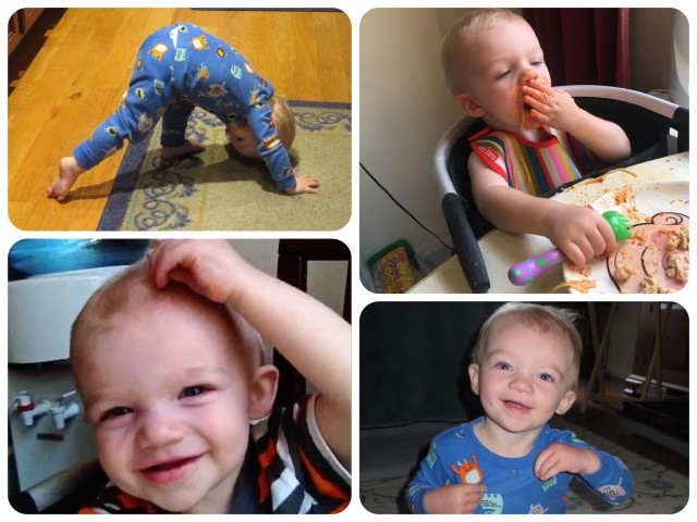 Caleb does his version of downward dog and is learning to feed himself. Toddlerhood is here!