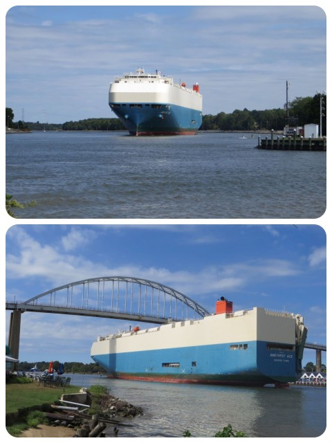 While we lingered over our ice cream, this enormous cargo ship appeared in the canal, dwarfing everything near it. We weren't sure it was going to fit under the bridge!