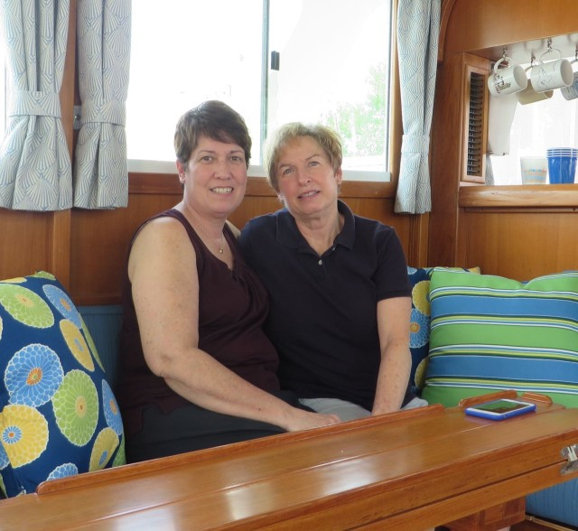 My sister, Lisa and her wife, Jeanne, visited us here in Connecticut and had a tour of the boat.