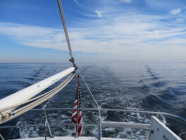 A photo of our wake spreading out behind us. Not bad. We were only traveling at 6.5-7.5 knots so we aren't much faster than our sailboat was. Conserving fuel!