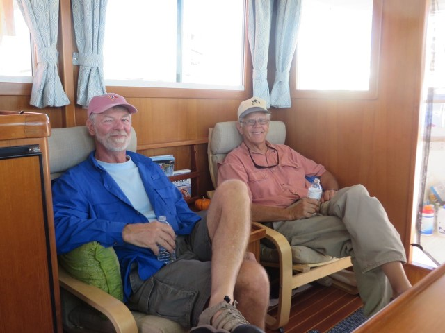 Don drove over later to visit us in Morehead City. The two Captains are enjoying a beer and boat talk. It just happened to be Don's birthday!