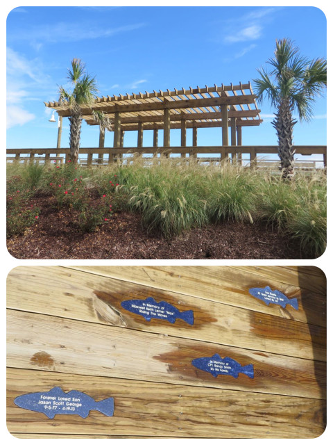 There is nice boardwalk along the beach fro a short distance. The commemorative fish were a nice twist on the commemorative bricks used to fund new walkways.