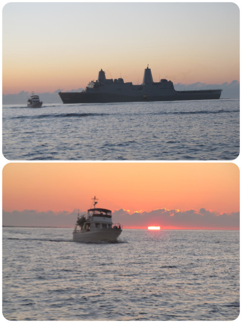 TOP - It may look as though Capt Al was playing chicken with a warship, but that was not the case! BOTTOM - Kindred Spirit with the sun rising behind.
