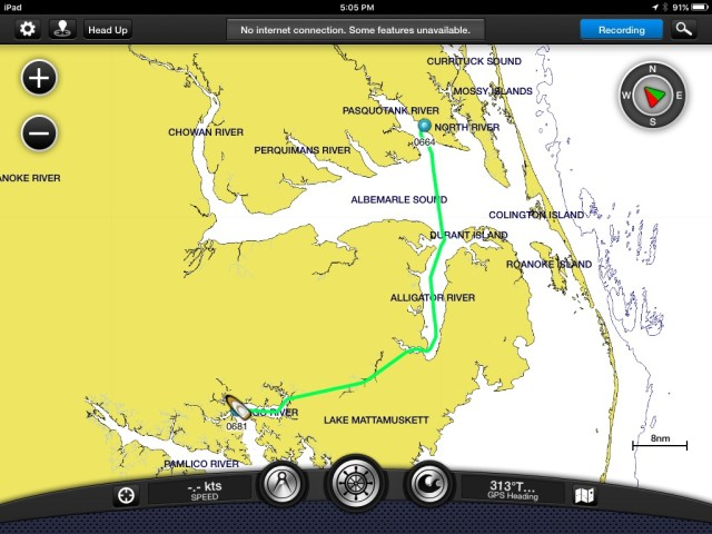 Our route from the Pasquotank River to Belhaven. 9.5 hours, 64 nautical miles