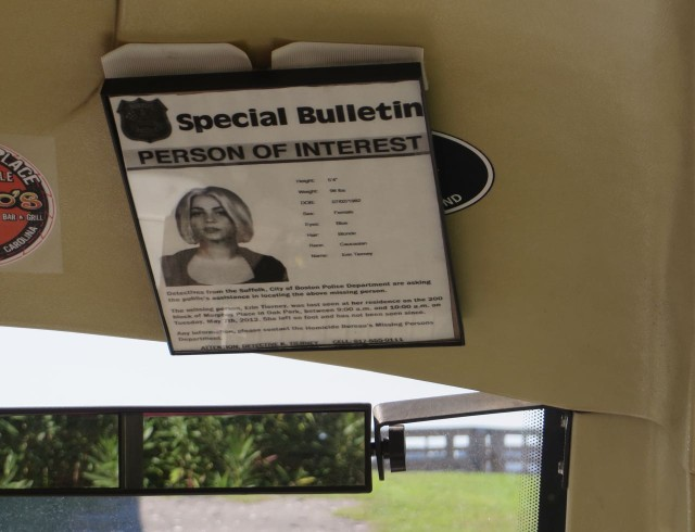 "Rev has this ""Wanted""poster hanging on the visor of his golf cart. It's not real - it's the one from the Safe Haven movie for Julianne Hough's character, Katie/Erin."