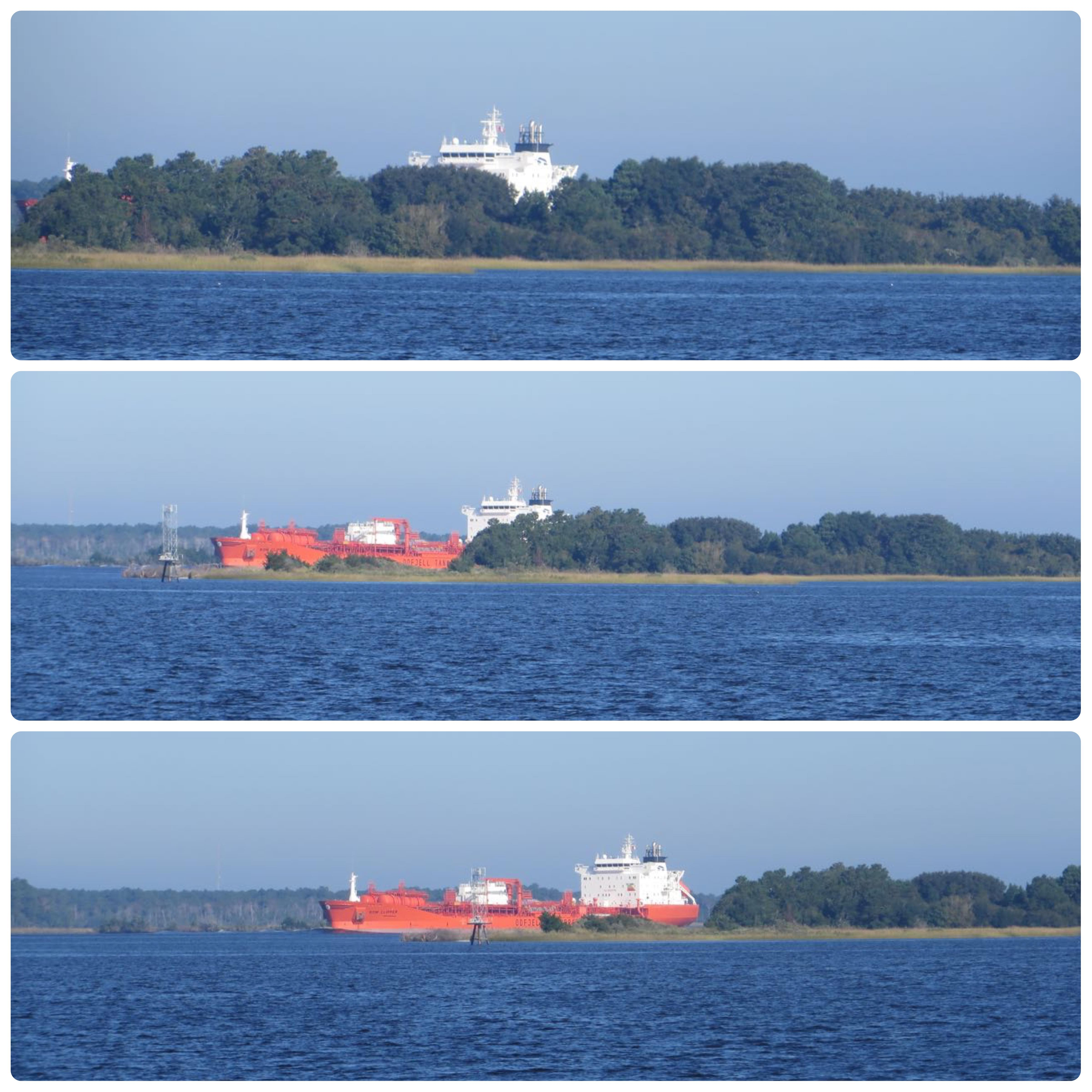 As we merged into the Cape Fear River, we could just see the top of a tanker over this little island.