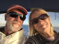 A selfie of a happy cruising couple - on the move again!