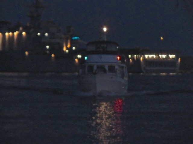 This is us leaving Morehead City (Thanks, Cutting Class!). If you look closely you can see us and our running lights.