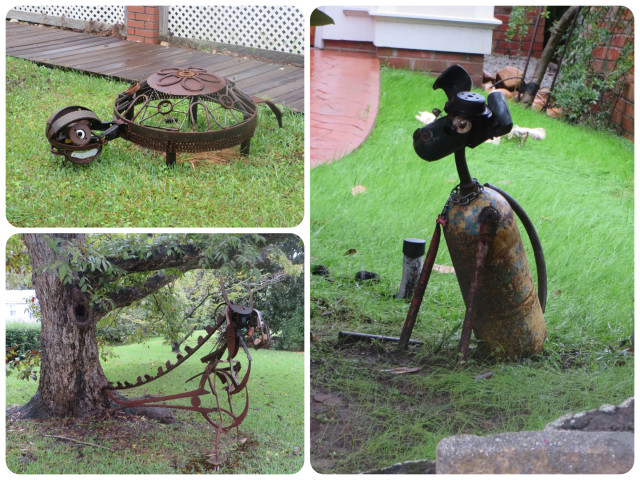 As we walked around town, we saw these metal sculptures on lawns - a turtle, a dog, and a grasshopper.