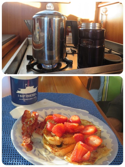Coffee with sour dough French toast topped with strawberries.