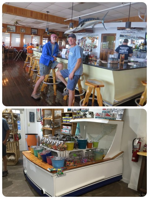 Boat transoms as interior furnishings. Will Al want to do this in our house???? Top photo - a bar in the Sanitary Fish Market restaurant Bottom photo - candy display in the ice cream shop