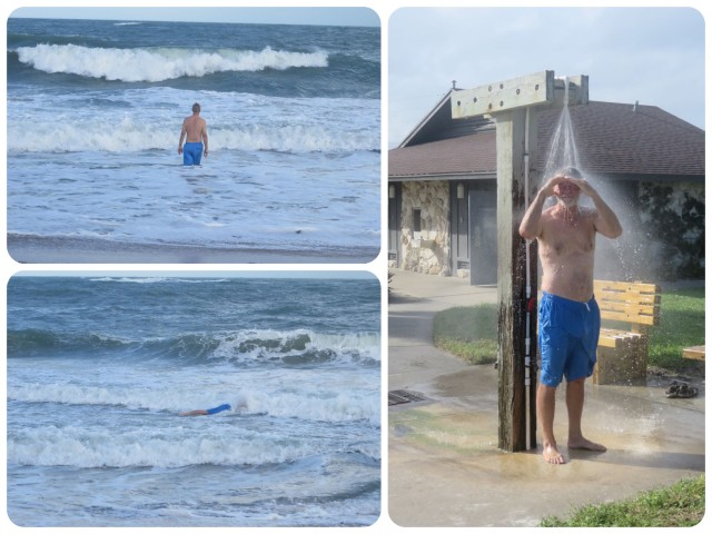 Much to my surprise, Al decides to take a dip in the ocean! This man likes his water on the warm side, the Florida water called to him. And a nice cool shower right at the beach cleaned the sand and salt off.