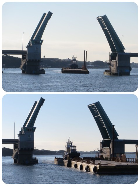 It doesn't matter what the height is for this bridge! When a barge is coming through, you wait. Barges have first dibs.