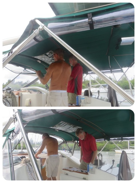 Al helps Dan design a method for holding the bimini windows up - snaps to the rescue. Al loves using those snapping tools.
