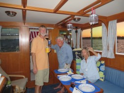 Dinner guests on Kindred Spirit. What an enjoyable evening we all had catching up our news.