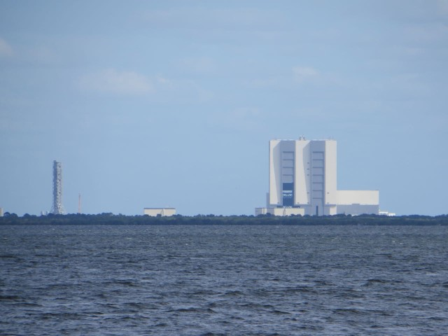 The Kennedy Space Center off in the distance, but clearly visible from the ICW.