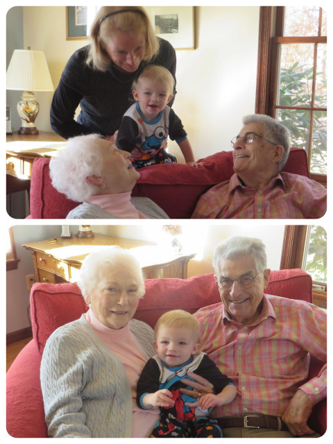 My parents get to spend time with their great-grandson, Caleb.