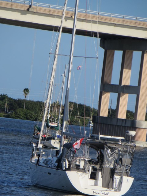 This was not a sight that we liked. As we passed an anchorage off to the side of the ICW, we noticed this Canadian sailboat. A closer look (we did recognize the name) and we saw that the American courtesy flag was upside down. Just don't see how that could be done by mistake.