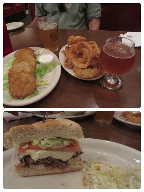 In addition to the excellent locally brewed beer, we tried fried green tomatoes and beer-batter onion rings. We shared the burger. ;-)