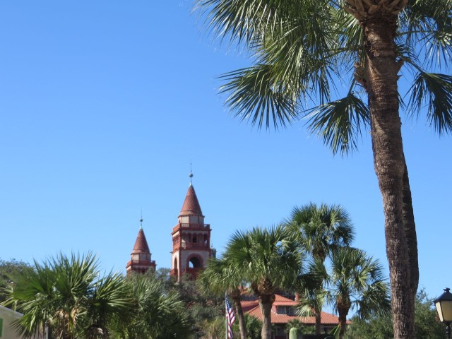 The top of Flagler College. We fondly remembered our tour of the college. Fascinating architecture.