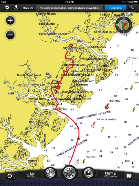 The route shows the winding ICW, almost shows the quick turn-around after Raccoon Key, and then out Ossabow Sound to the ocean.